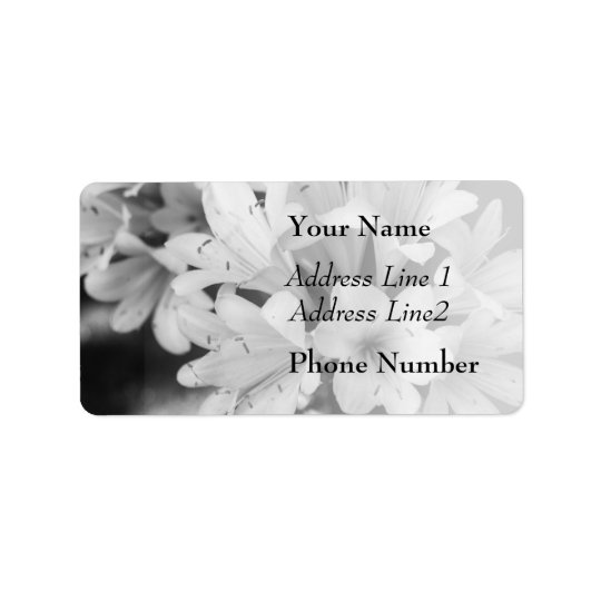 Black and White Flowers, Floral Photograph Label