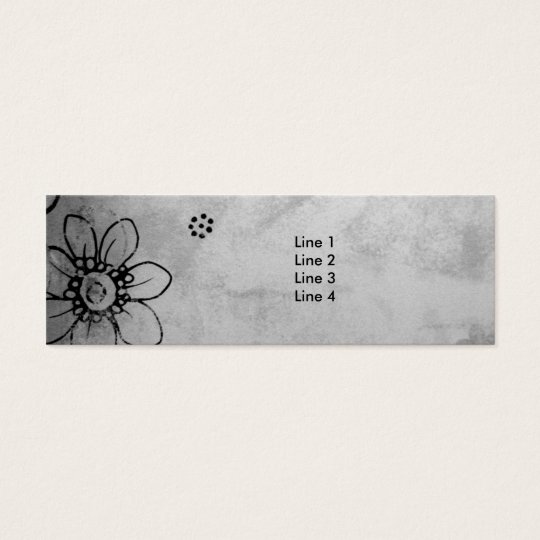 Black and White Flowers Mini Business Card