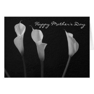 Black and White Flowers Mother s Day Card