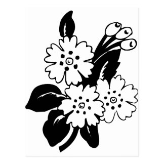 Black and White Flowers Post Card