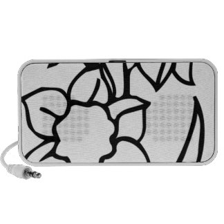 Black and White Flowers iPhone Speaker