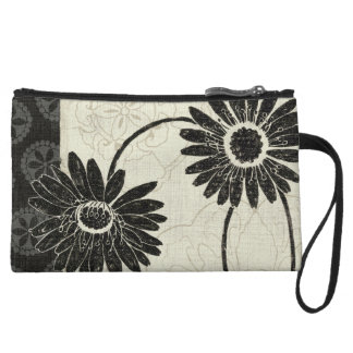 Black and White Flowers Wristlet