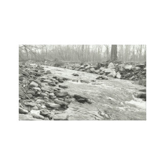 Black and White Flowing River on Canvas