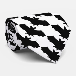 Black and White Flying Bats Goth Tie