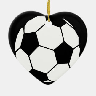 Black and White Football Ceramic Heart Decoration