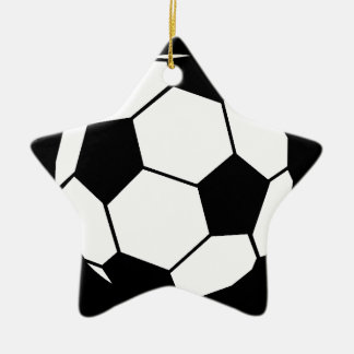 Black and White Football Ceramic Star Decoration