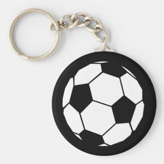 Black and White Football Basic Round Button Key Ring