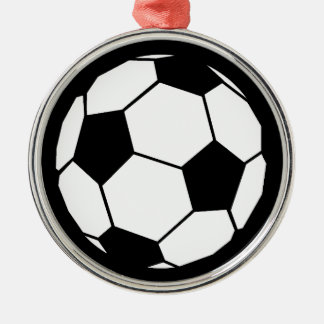 Black and White Football Silver-Colored Round Decoration