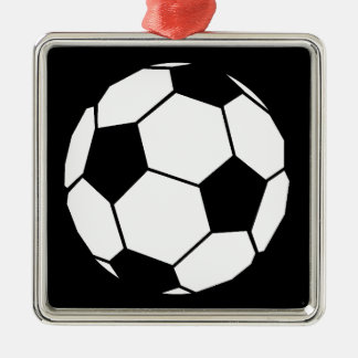 Black and White Football Silver-Colored Square Decoration