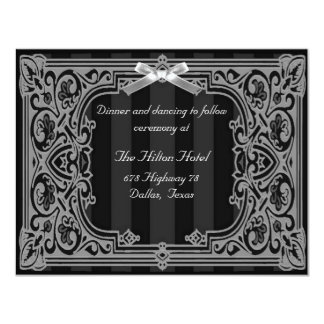 Black and White Formal Reception Card 11 Cm X 14 Cm Invitation Card