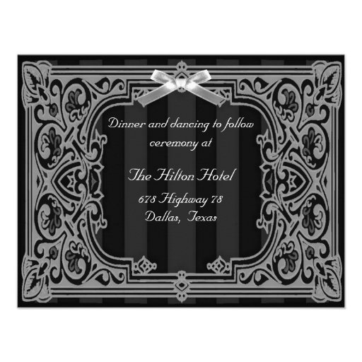Black and White Formal Reception Card Personalized Invitations