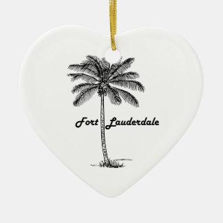 Black and White Fort Lauderdale & Palm design Ceramic Heart Decoration