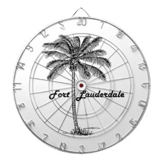 Black and White Fort Lauderdale & Palm design Dartboard With Darts