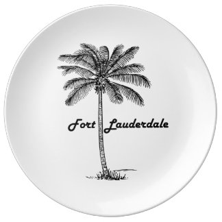 Black and White Fort Lauderdale & Palm design Plate