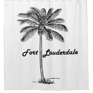 Black and White Fort Lauderdale & Palm design Shower Curtain