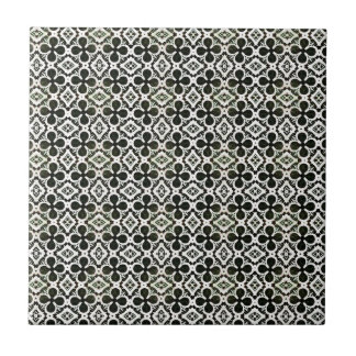 Black And White Four Leaf Lucky Clover Pattern Small Square Tile