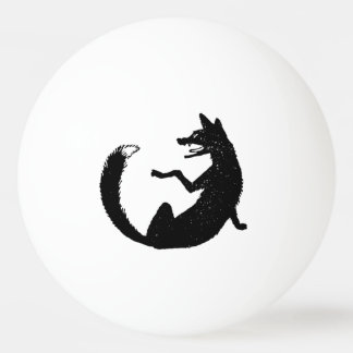 Black and White Fox Emblem Symbol Ping Pong Ball