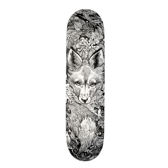 Black and white Fox + nature Skate Deck