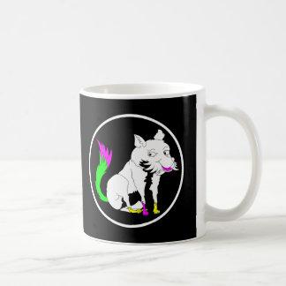 Black and White Fox With a Shocking Pink Tail Basic White Mug