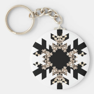 Black and White Fractal Art Snowflakes Key Ring