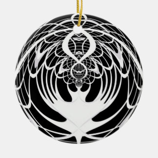 Black and White Fractal Christmas Ornament