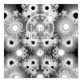 Black and White Fractals Pattern Christmas Card