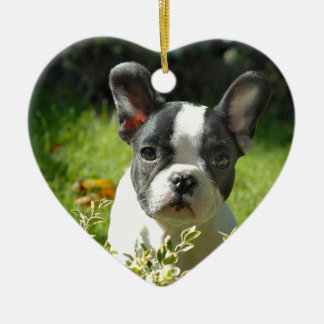 Black and White French Bull Dog Puppy Ceramic Heart Decoration