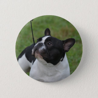 Black and White French Bulldog 6 Cm Round Badge