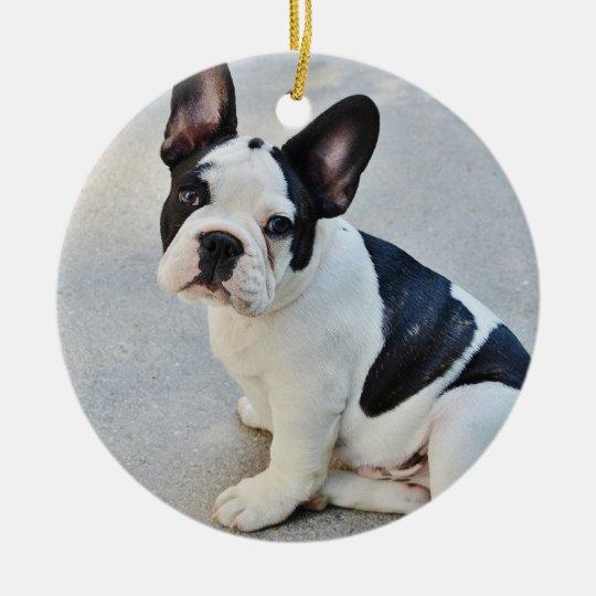 French Bulldog Christmas Ornament.Black And White French Bulldog Christmas Ornament