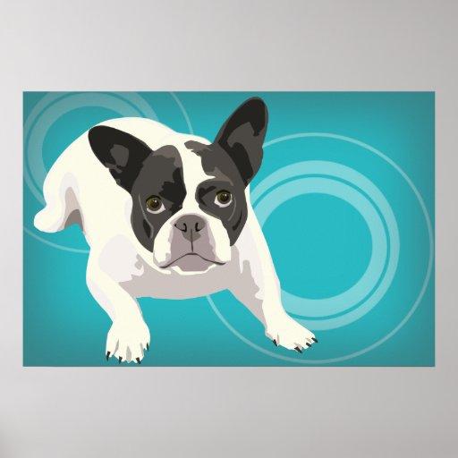 Black and White French Bulldog on Blue Background Print