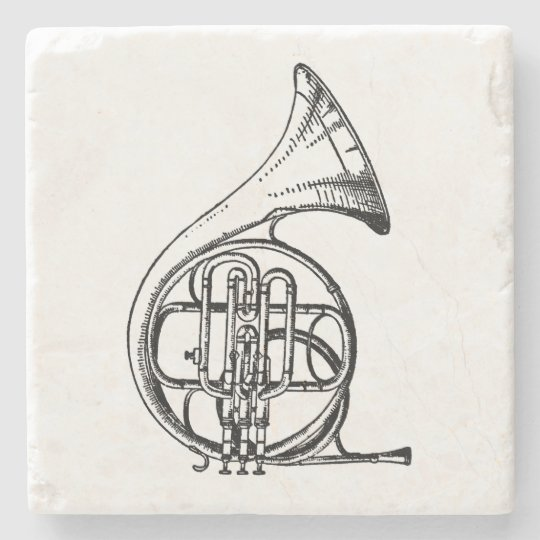 Black and White French Horn Musical Instrument Stone