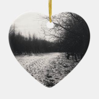 Black and white frozen ceramic heart decoration