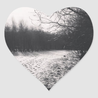 Black and white frozen heart sticker