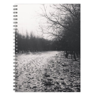 Black and white frozen notebook