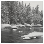 Black and white frozen river scenery fabric