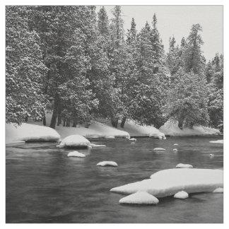 Black and white frozen river scenery fabric