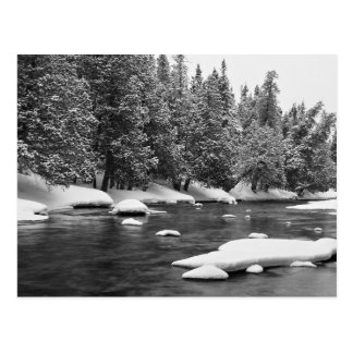 Black and white frozen river scenery postcard