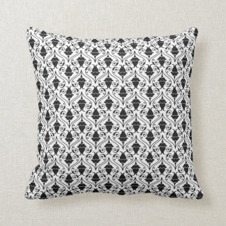 Black and White Fuchsia Floral Damask Cushion