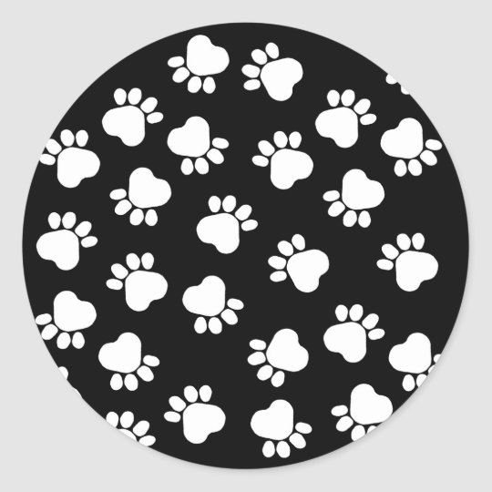 Black and White Fun Paw Prints Classic Round