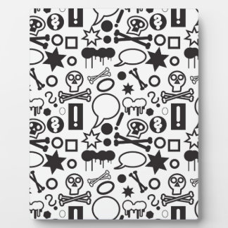 Black and white funky icons display plaque