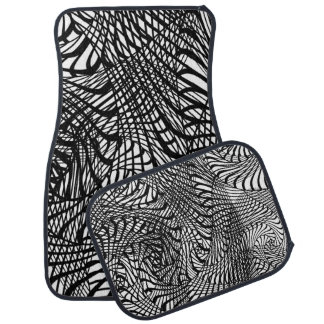 Black And White Funky Modern Patterned Car Mat