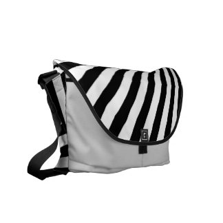 Black and White Funky Striped Abstract Art Messenger Bags