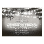 black and white garden lights rustic wedding personalized announcement