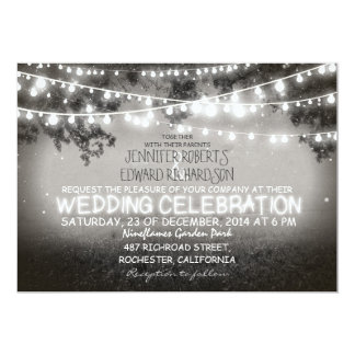 black and white garden lights rustic wedding 5x7 paper invitation card
