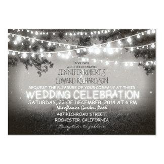 black and white garden lights rustic wedding 13 cm x 18 cm invitation card