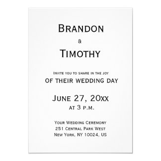Black And White Gay Wedding Invitations