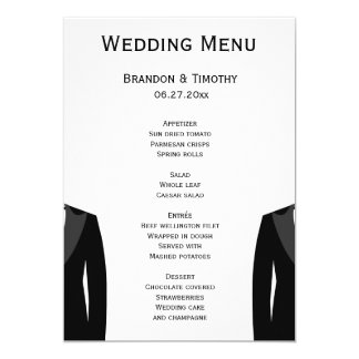 Black And White Gay Wedding Menu Cards