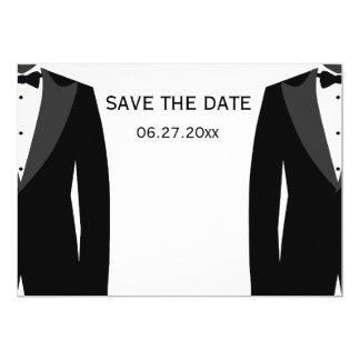 Black And White Gay Wedding Save The Dates Card