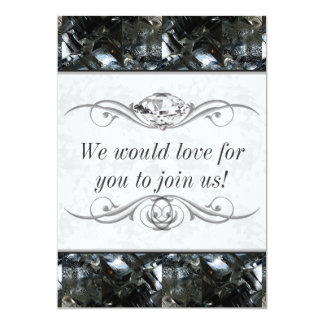 Black and White Gem 5x7 Paper Invitation Card