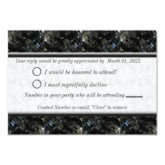 Black and White Gem RSVP 3.5x5 Paper Invitation Card